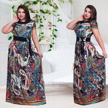 Fashion Print Dress 2017 O-Neck Short Sleeve Casual Style Hight waist Floor-Length Plus Size Women Dress With Shahes