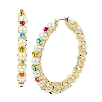 GRANNY CHIC STONE HOOP EARRINGS: Betsey Johnson