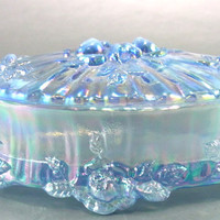 Fenton Iridescent Blue Cabbage Rose Oval Footed Trinket Box