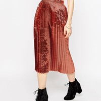 ASOS Column Skirt in Pleated Metallic