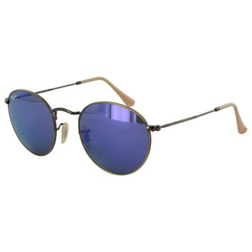 Ray Ban Womens RB3447 Round Metal Frame Sunglasses, Bronze-Copper/Violet Mirror