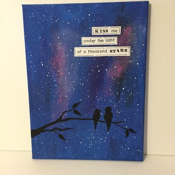 "Ed Sheeran Inspired Canvas Painting 9 x 12 Acrylic Painting ""Kiss Me Under The Light Of A Thousand Stars"" Wedding Song Canvas Painting"