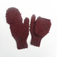 Crochet Glittens in Chestnut, Wool Blend Convertible Mittens, ready to ship.