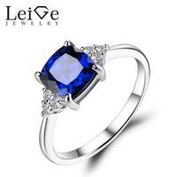 Blue Sapphire Engagement Ring 925 Sterling Silver Cushion Cut