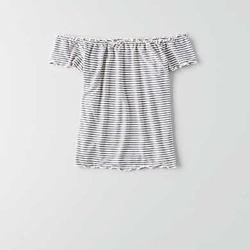 AEO Lettuce Edge Off-The-Shoulder T-Shirt , Black