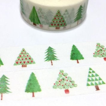 Green tree washi tape 7M pine tree oak tree fir tree rainforest forest Tree Christmas tree green world tree scenes landscape sticker tape