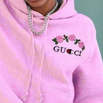 GUCCI : Pink hoodie pullover sweatershirt Three Color
