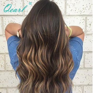 Natural Wavy Ombre 1B Highlights27# Ombre Blonde Brazilian Remy Human Hair Lace Front Wigs Baby Hair Ombre Color Human Wig