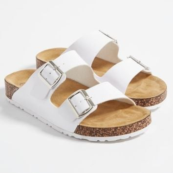 Glossy White Strappy Buckle Slides