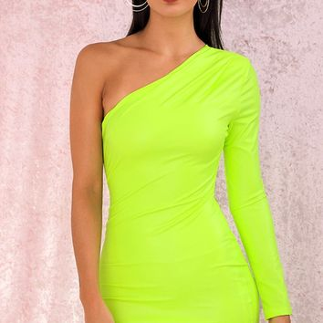 Side With Me Neon Green PU Faux Leather One Shoulder Long Sleeve Asymmetric Bodycon Mini Dress