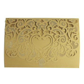 Paper Rectangular Laser-Cut Pearlescent Scroll Swirl Invitations with Heart, Gold, 7-1/4-Inch, 8 count