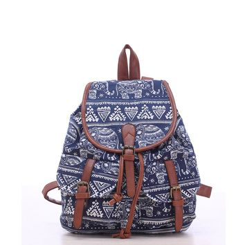 Fashion Elephant Print Women Drawstring Canvas Backpack Rucksack School Bag Casual Bag