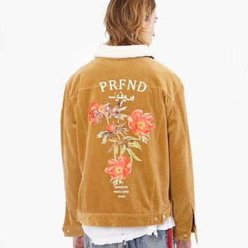 Corduroy Printed Flower Jacket in Camel