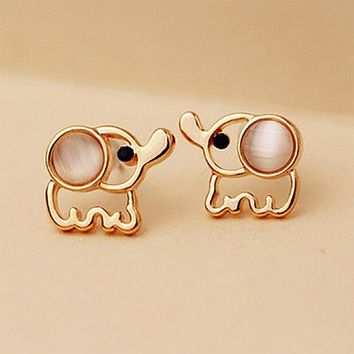 Women Men Gold Color Elephant Stud Earrings White Pink Rhinestone Cat Eye Stone Opal Earring Ear Jewelry Accessories Pendientes