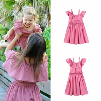Puseky Family Matching Outfits Fashion Cotton Dress Mother Daughter Clothes Mom and Daughter High Waist Dresses Family Clothing