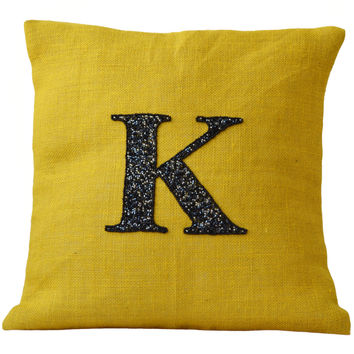 Personalized pillows- Monogrammed pillows- Personalized burlap pillows - Burlap pillow cover - 16 X16 pillow -Yellow pillow - Initial Pillow