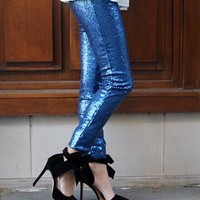Navy Sequin Leggings