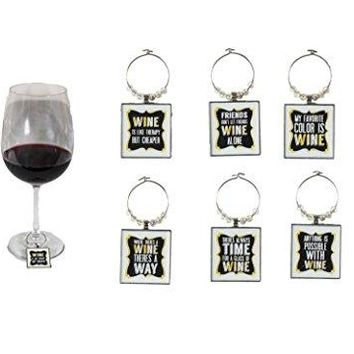 Funny Art Quote Wine Charm Set of 6 Fun inspirational word Unique Ring Theme Label Champagne Glass Marker Accessories Gift Idea for Women Men Boy Girl kid Happy Birthday Party Event engagement