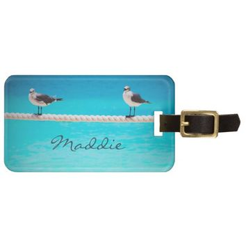 Blue ocean birds photo custom name luggage tag