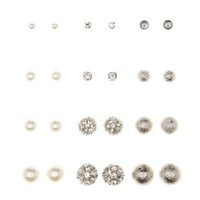 Pearl, Diamante, & Metal Stud Earrings - 12 Pack