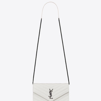 Saint Laurent MONOGRAM SAINT LAURENT Envelope Chain Wallet In Dove White Grain De Poudre Textured Matelassé Leather | ysl.com