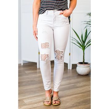 Judy Blue Lace White Jeans