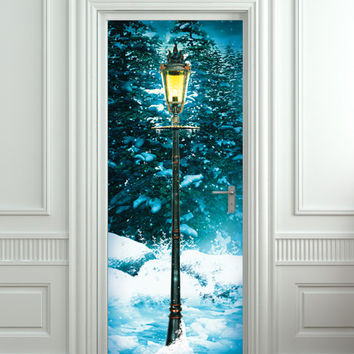 "Door STICKER lamp post lamppost winter forest mural decole film self-adhesive poster 30x80""(77x203 cm) /"
