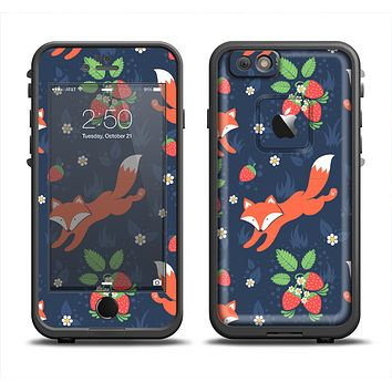 The Running Orange & Navy Vector Fox Pattern Apple iPhone 6 LifeProof Fre Case Skin Set