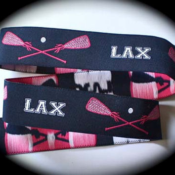 Navy and Pink LACROSSE Jacquard Ribbon - 1""