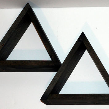 SET OF TWO Geometric Shelves Shadow Box Triangle Design Handmade Wooden Shelves Rustic Modern Primitive Shelf Minimalist Shelf Shadow Boxes