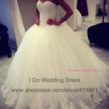ZJ9014 2016 fashion Beads Crystal White Ivory Wedding Dresses for brides plus size formal sweetheart 2/4/6/8/10/12/14/16/18/20