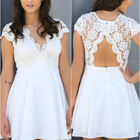 Red Alert Off White Scalloped Lace A-line Dress