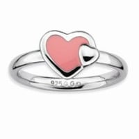 Sterling Silver Polished Pink Enameled Heart Ring