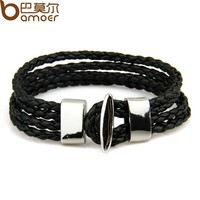 Black Leather Chain Alloy Bracelet for Men Metal Charms Fashion Woven Bracelet Fashion Jewelry PI0005-1