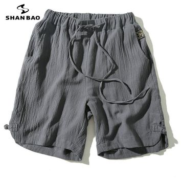 Men's cotton linen loose shorts 2017 summer new Chinese style plate buckle large size solid color leisure beach shorts Men SB009