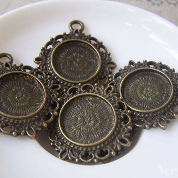 Pendant Tray Blank Antique Bronze Cameo Base Settings Match 15mm Cabochon Set of 10 A4681
