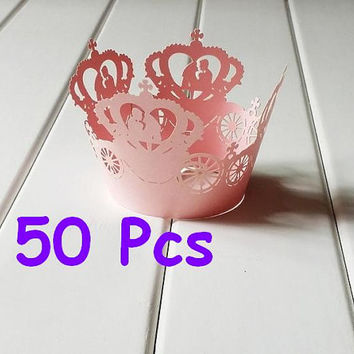 Pumpkin Car wrapper Stencil crown laser wrapper fancy wedding Cupcake Wrappers party cake wrapper lace wrapper for Christenings Baby Showers