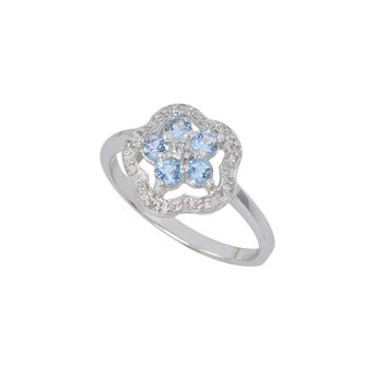 Sterling Silver .05ct Genuine Diamond Ring Flower with Blue Topaz