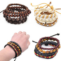 1 piece Bohemia Style Multi Layered Wood Beaded Bracelet Men Women Unisex Adjustable Wristband Jewelry