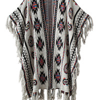 Light Grey Geo Pattern Tassel Detail Poncho Cardigan