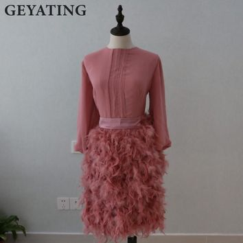 Elegant Feather Pink Prom Dress 2017 Knee Length Formal Evening Dresses With Bow Long Sleeves Party Dresses Women Formal Gowns