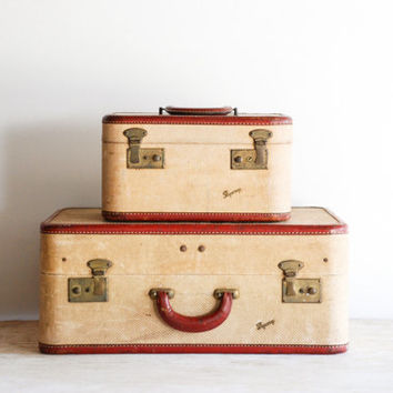 vintage suitcases, luggage set, old luggage, mid century, retro, 1940s, Skyway luggage, vintage, pair