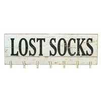 Lost Socks - Functional Wall Décor with 7 Clothespins - 30-in