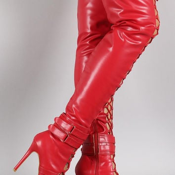 Strapped Corset Pointy Toe Over-The-Knee Stiletto Boots