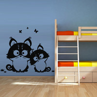 Wall decal decor decals art cat family funny cartoon raccoon butterfly baby gift nursery (m646)