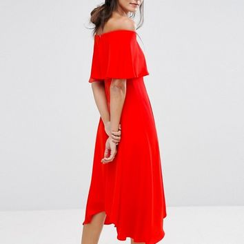 Coast Brooke Bandeau Frill Midi Dress at asos.com