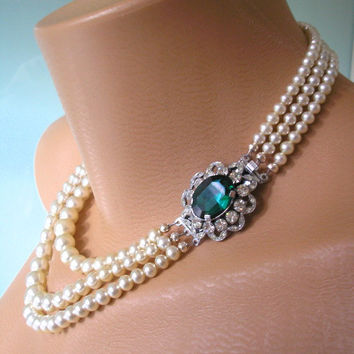 Emerald Necklace, Statement Necklace, Emerald Choker, Pearl Necklace, Great Gatsby Jewelry, Pearl Choker, Bridal Jewelry, Art Deco Jewelry