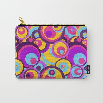 Retro Circles Groovy Colors Carry-All Pouch by gx9designs