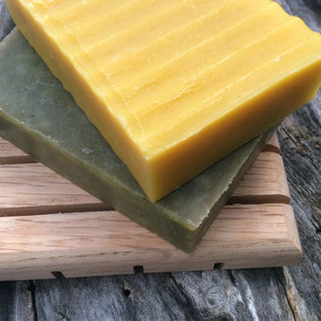Artisan Soap gift set, one bar of cold process soap, red oak hardwood soap dish