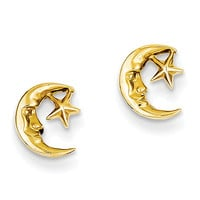 14k Moon and Star Post Earrings TC620